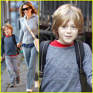 Sarah Jessica Parker: Walking B-Day Boy James to School!