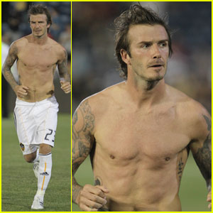 David Beckham: Shirtless After Newcastle Jets Loss