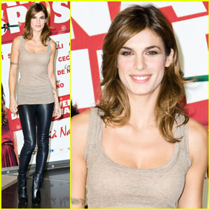 Elisabetta Canalis: Leather Pants at 'Natale Mi Sposo' Photocall