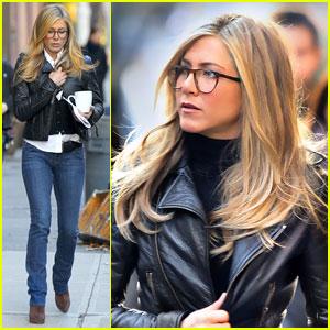 Jennifer Aniston Gets Leathered Up For 'Wanderlust'