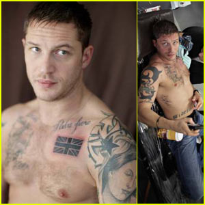 Tom Hardy: Union Jack Chest Tattoo