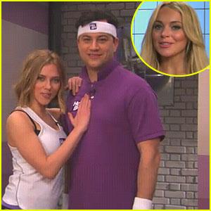 Lindsay Lohan & Scarlett Johansson Join Jimmy Kimmel's Fitness Club
