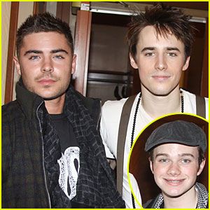 Zac Efron & Chris Colfer: Backstage at 'Spider-Man'!