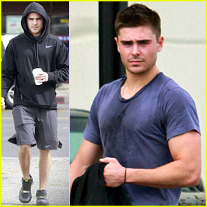 Zac Efron: Sweaty with Starbucks!