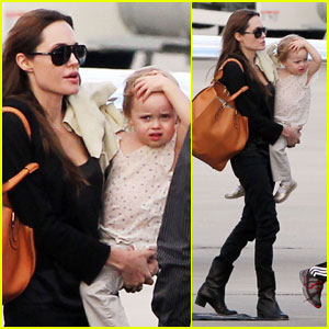 Angelina Jolie Jets Into New Orleans