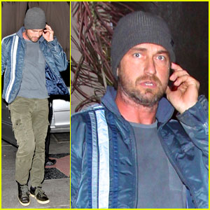 Gerard Butler Walks and Talks