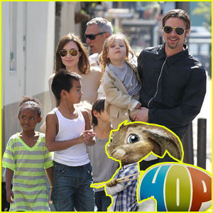 Brad Pitt: 'Hop' Screening & Easter Egg Hunt with the Kids!
