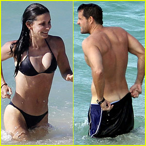 Courteney Cox & Josh Hopkins Lose Their Suits