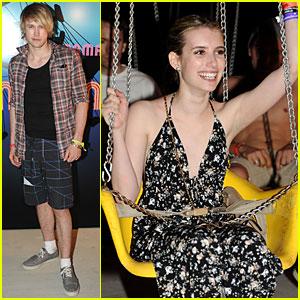 Chord Overstreet & Emma Roberts: Armani Exchange Neon Carnival!