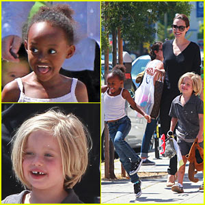 Angelina Jolie: Ozzie Dots with Shiloh &#038; Zahara!