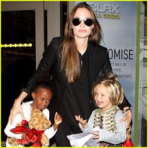 Angelina Jolie: LAX Landing with Shiloh & Zahara!
