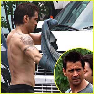 Colin Farrell: Shirtless on 'Total Recall' Set!
