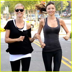 Miranda Kerr: AOL Summer Run with Heidi Klum!