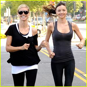 Miranda Kerr: AOL Summer Run with Heidi Klum!