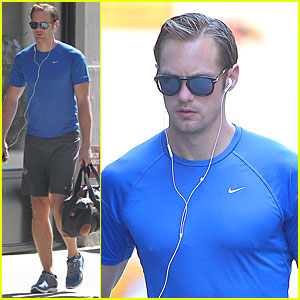 Alexander Skarsgard Goes to the Gym in NYC