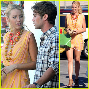 Blake Lively: 'Gossip Girl' Set With Chace Crawford!