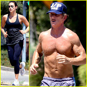 Sean Penn: Shirtless Jogging with Shannon Costello!