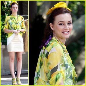Leighton Meester: Mellow Yellow on 'Gossip Girl' Set