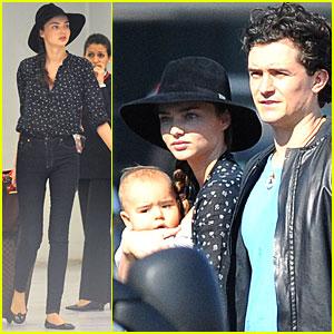 Miranda Kerr, Orlando Bloom & Flynn: Paris Airport Arrival