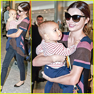 Miranda Kerr & Flynn: Heathrow Arrival