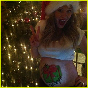 Hilary Duff: Painted Holiday Baby Belly!