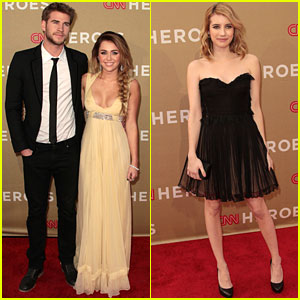 Miley Cyrus & Liam Hemsworth: CNN Heroes with Emma Roberts!