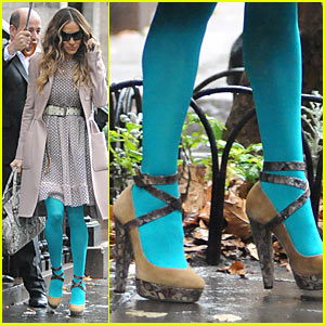 Sarah Jessica Parker: Aqua Tights for Kelly Ripa!