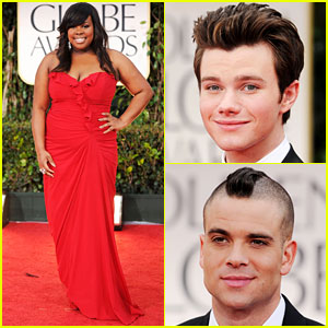 Amber Riley & Chris Colfer - Golden Globes 2012 Red Carpet