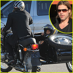 Brad Pitt &#038; Pax: Motorcycle Grocery Guys!