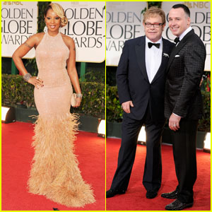 Mary J. Blige & Elton John - Golden Globes 2012 Red Carpet