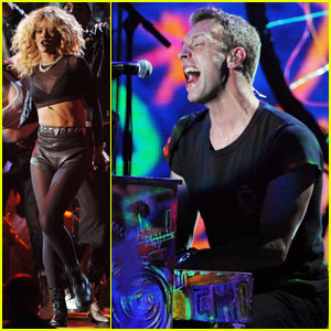 Rihanna's Grammys Performance with Coldplay - Watch Now!