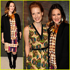 Drew Barrymore &#038; Jessica Chastain: Marni for H&#038;M Launch!