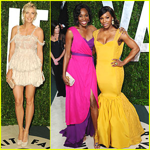 Maria Sharapova & Williams Sisters - Vanity Fair Oscar Party