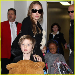 Angelina Jolie, Zahara, & Shiloh: Back in LA!