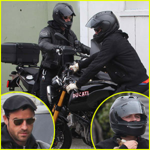 Justin Theroux & Orlando Bloom: Biking Buddies