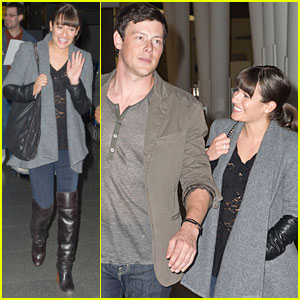 Lea Michele & Cory Monteith Jet Out of JFK