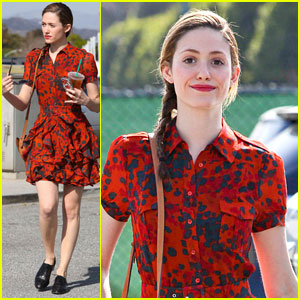 Emmy Rossum: Red Dress Coffee Run
