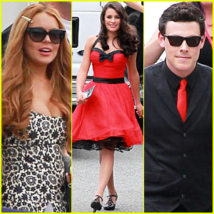 Lindsay Lohan: 'Glee' Filming with the Cast!