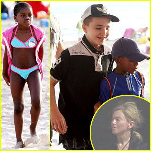 Madonna's Kids Visit the Beach in Tel Aviv