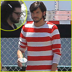 Ashton Kutcher: Stripes on Set!