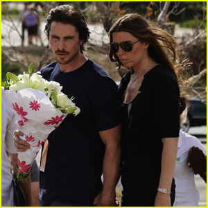 Christian Bale Visits Theatre Shooting Memorial in Aurora - Pics