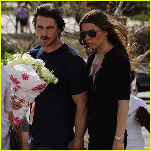 Christian Bale Visits Theatre Shooting Memorial in Aurora - Pics
