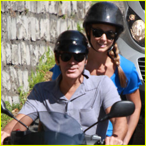 George Clooney &#038; Stacy Keibler: Switzerland Scooter Ride!
