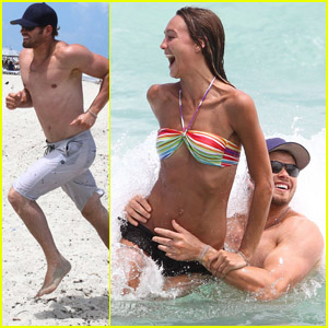 Kellan Lutz: Shirtless Beach Day with Sharni Vinson!