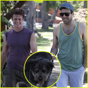 Zachary Quinto & Jonathan Groff: Dog Walking Duo!