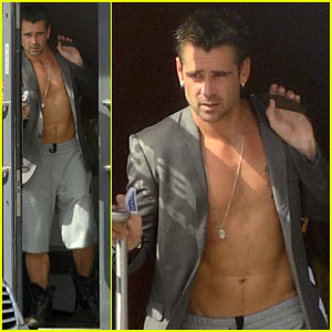 Colin Farrell: Shirtless Yoga Class!