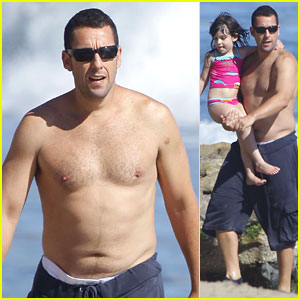 Adam Sandler: Shirtless Beach Time with Sadie & Sunny!