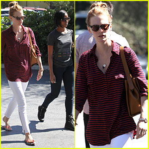 January Jones: Stripes in Pasadena!