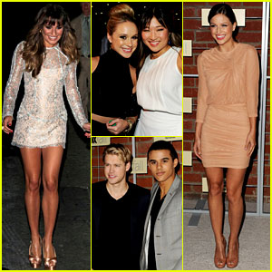 Lea Michele Visits 'Kimmel', 'Glee' Cast Attends Fox Party