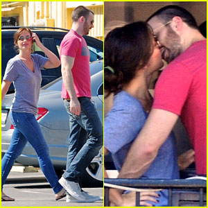 Chris Evans and Minka Kelly kiss while getting lunch together at Hugo